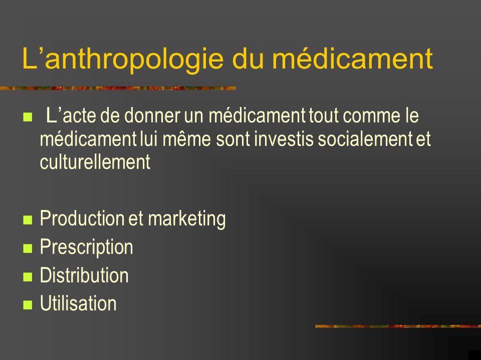 Lanthropologie du médicament L acte de donner un médicament tout comme le médicament lui même sont investis socialement et culturellement Production e