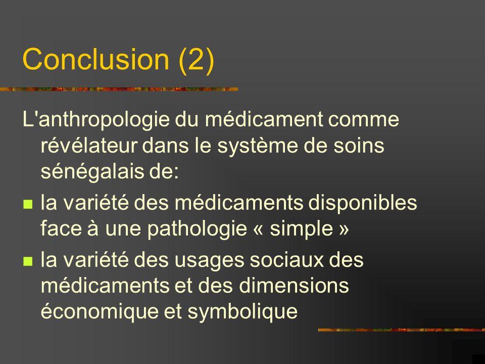 Conclusion (2) L'anthropologie du médicament comme révélateur dans le système de soins sénégalais de: la variété des médicaments disponibles face à un