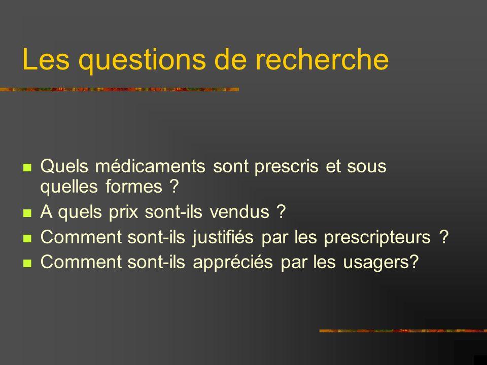 Les questions de recherche Quels médicaments sont prescris et sous quelles formes ? A quels prix sont-ils vendus ? Comment sont-ils justifiés par les