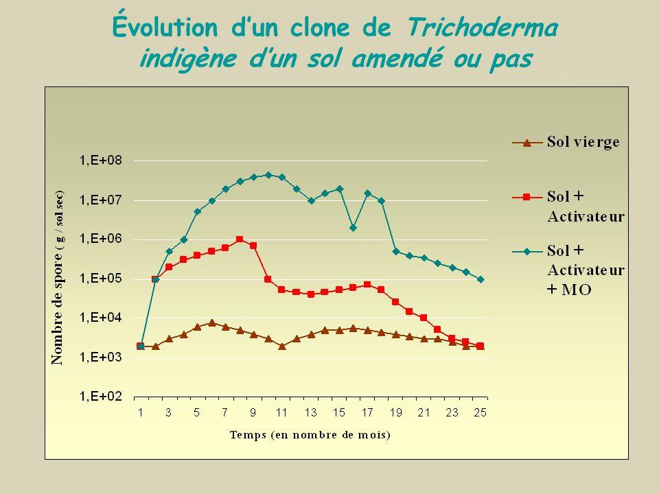 Évolution desTrichoderma dans des sols amendés par divers éléments Sucres + Ca + Mg Ca Mg Sucres + Ca + Mg + M.O. Ca Mg = Matière Organique spécifique