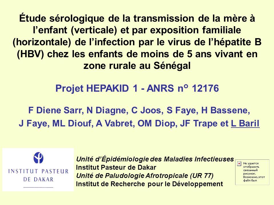 Étude sérologique de la transmission de la mère à lenfant (verticale) et par exposition familiale (horizontale) de linfection par le virus de lhépatit
