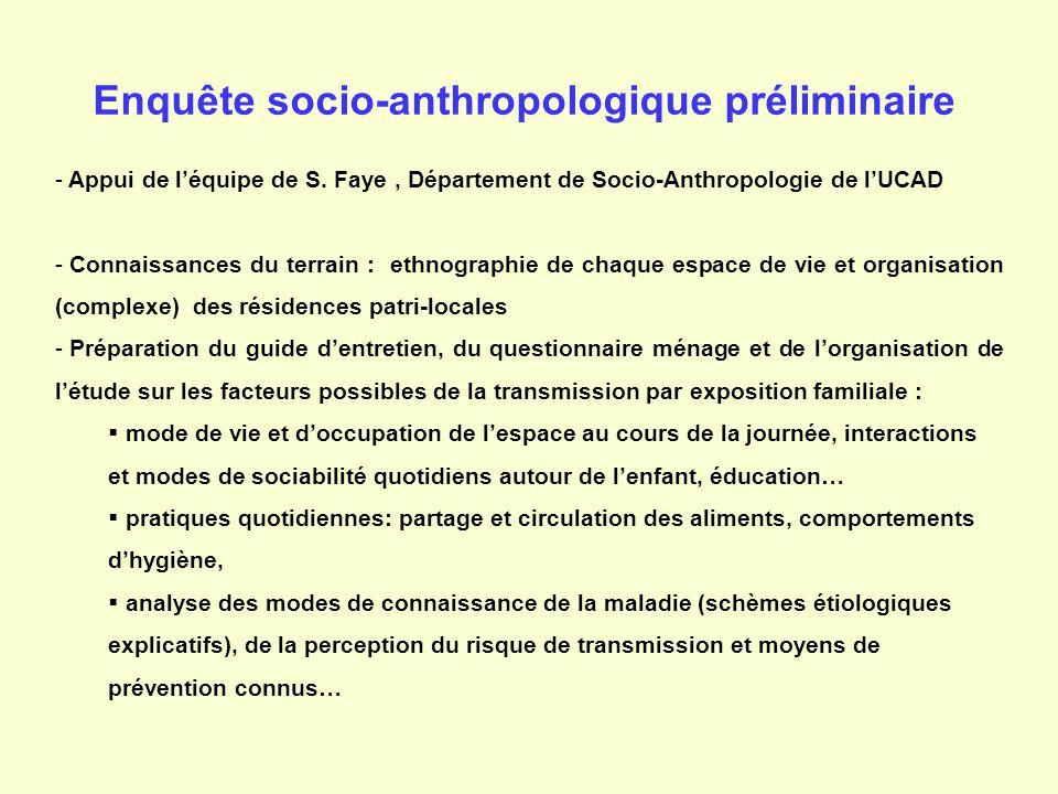 Enquête socio-anthropologique préliminaire - Appui de léquipe de S. Faye, Département de Socio-Anthropologie de lUCAD - Connaissances du terrain : eth