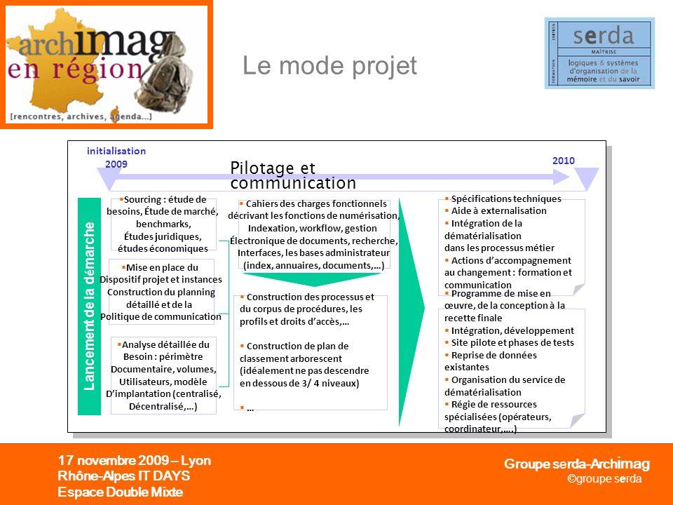 Groupe serda-Arch i mag ©groupe serda 17 novembre 2009 – Lyon Rhône-Alpes IT DAYS Espace Double Mixte Le mode projet 2010 initialisation 2009 Lancemen