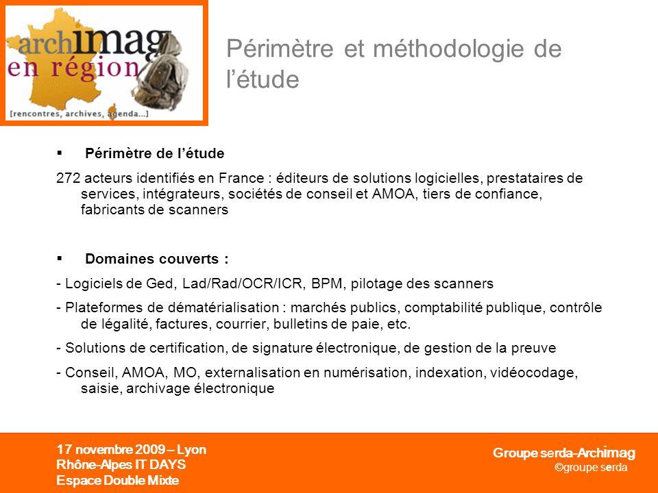 Groupe serda-Arch i mag ©groupe serda 17 novembre 2009 – Lyon Rhône-Alpes IT DAYS Espace Double Mixte Périmètre et méthodologie de létude Périmètre de