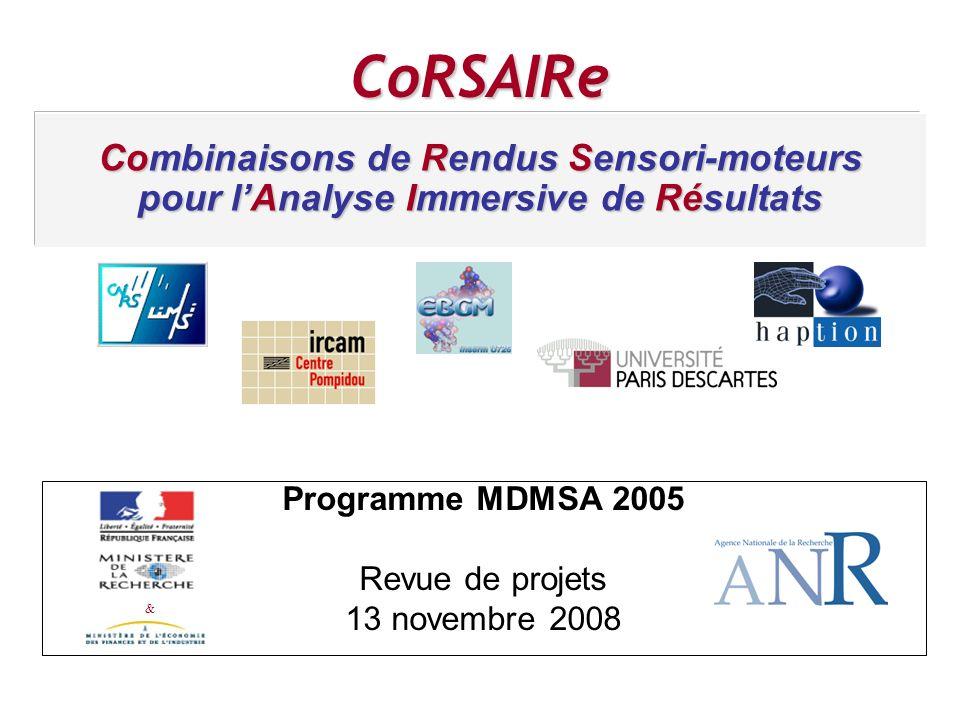 CoRSAIRe & Combinaisons de Rendus Sensori-moteurs pour lAnalyse Immersive de Résultats Programme MDMSA 2005 Revue de projets 13 novembre 2008