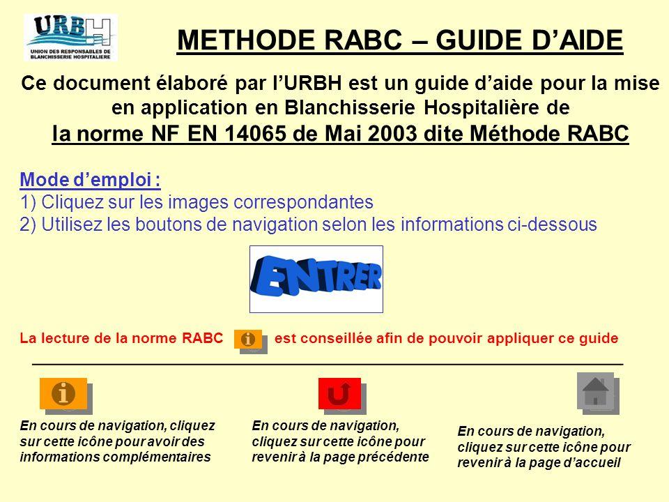 1) Analyser les risques 2) Déterminer des valeurs cibles 3) Mettre en place un système de surveillance 4) Prévoir des actions en cas de dépassement des limites 5) Gérer la documentation METHODE RABC – GUIDE DAIDE La méthode RABC, basée sur 7 principes peut sappliquer en 5 étapes _____________________________________________________ Les 7 principes fondamentaux RABC