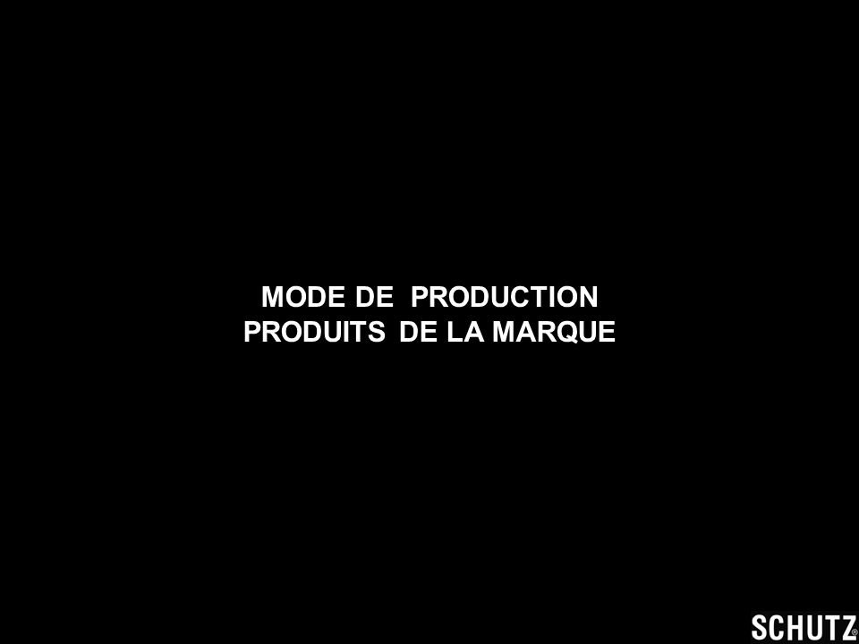 MODE DE PRODUCTION PRODUITS DE LA MARQUE