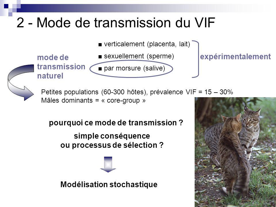 2 - Mode de transmission du VIF verticalement (placenta, lait) sexuellement (sperme) par morsure (salive) expérimentalement mode de transmission natur