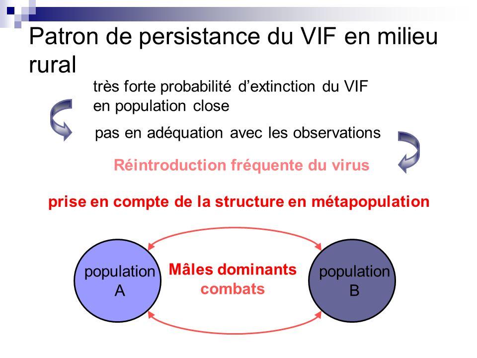 Patron de persistance du VIF en milieu rural très forte probabilité dextinction du VIF en population close pas en adéquation avec les observations pri