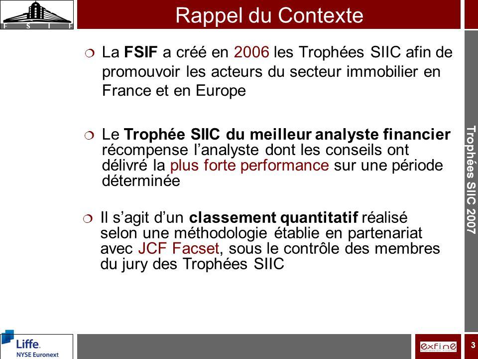Trophées SIIC 2007 F S I F 3 Rappel du Contexte La FSIF a créé en 2006 les Trophées SIIC afin de promouvoir les acteurs du secteur immobilier en France et en Europe Le Trophée SIIC du meilleur analyste financier récompense lanalyste dont les conseils ont délivré la plus forte performance sur une période déterminée Il sagit dun classement quantitatif réalisé selon une méthodologie établie en partenariat avec JCF Facset, sous le contrôle des membres du jury des Trophées SIIC