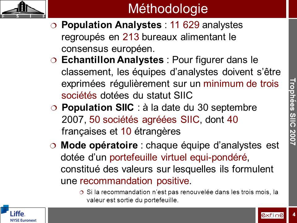 Trophées SIIC 2007 F S I F 4 Méthodologie Population Analystes : 11 629 analystes regroupés en 213 bureaux alimentant le consensus européen.