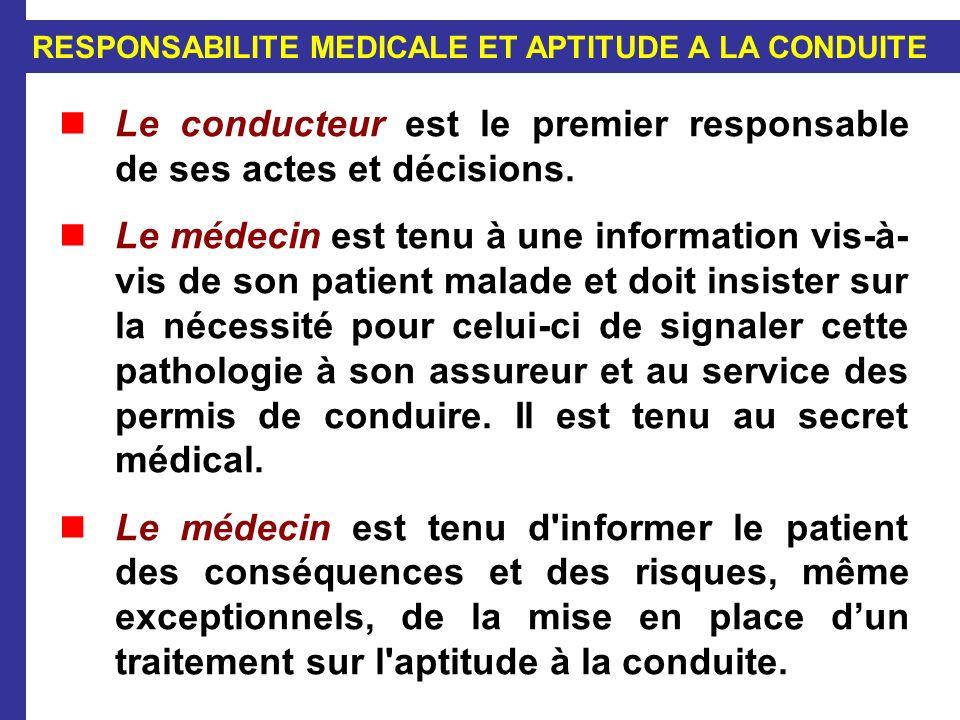 RESPONSABILITE MEDICALE ET APTITUDE A LA CONDUITE Le conducteur est le premier responsable de ses actes et décisions. Le médecin est tenu à une inform