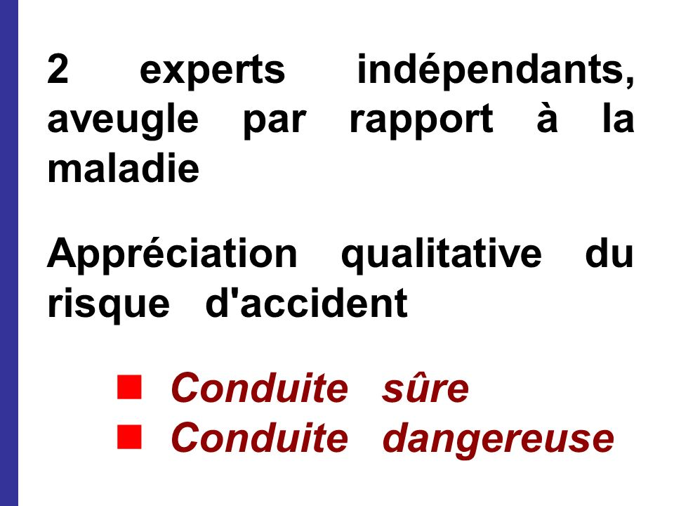 2 experts indépendants, aveugle par rapport à la maladie Appréciation qualitative du risque d'accident Conduite sûre Conduite dangereuse