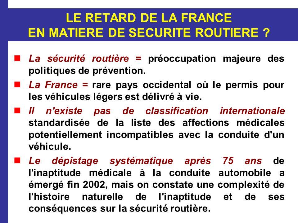 LE RETARD DE LA FRANCE EN MATIERE DE SECURITE ROUTIERE ? La sécurité routière = préoccupation majeure des politiques de prévention. La France = rare p