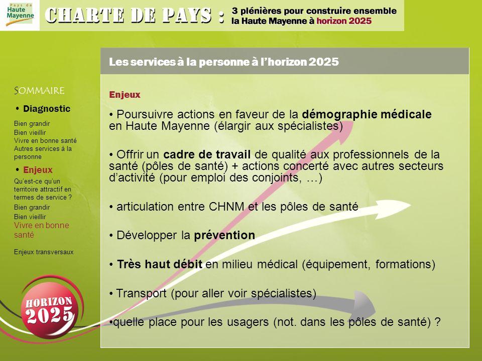 Les services à la personne à lhorizon 2025 S OMMAIRE Diagnostic Bien grandir Bien vieillir Vivre en bonne santé Autres services à la personne Enjeux Quest-ce quun territoire attractif en termes de service .
