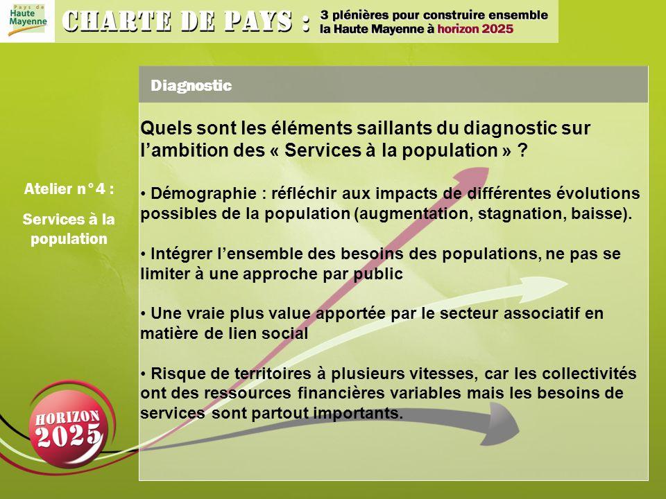 Diagnostic Quels sont les éléments saillants du diagnostic sur lambition des « Services à la population » .