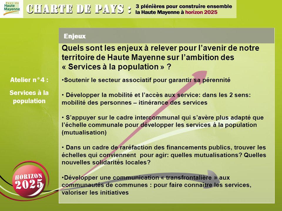 Enjeux Atelier n°4 : Services à la population Quels sont les enjeux à relever pour lavenir de notre territoire de Haute Mayenne sur lambition des « Services à la population » .
