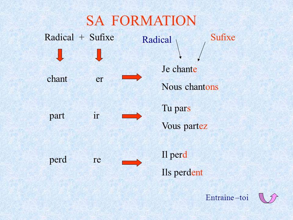 SA FORMATION Radical + Sufixe chanter partir perdre Je chante Nous chantons Radical Tu pars Vous partez Il perd Ils perdent Sufixe Entraîne –toi