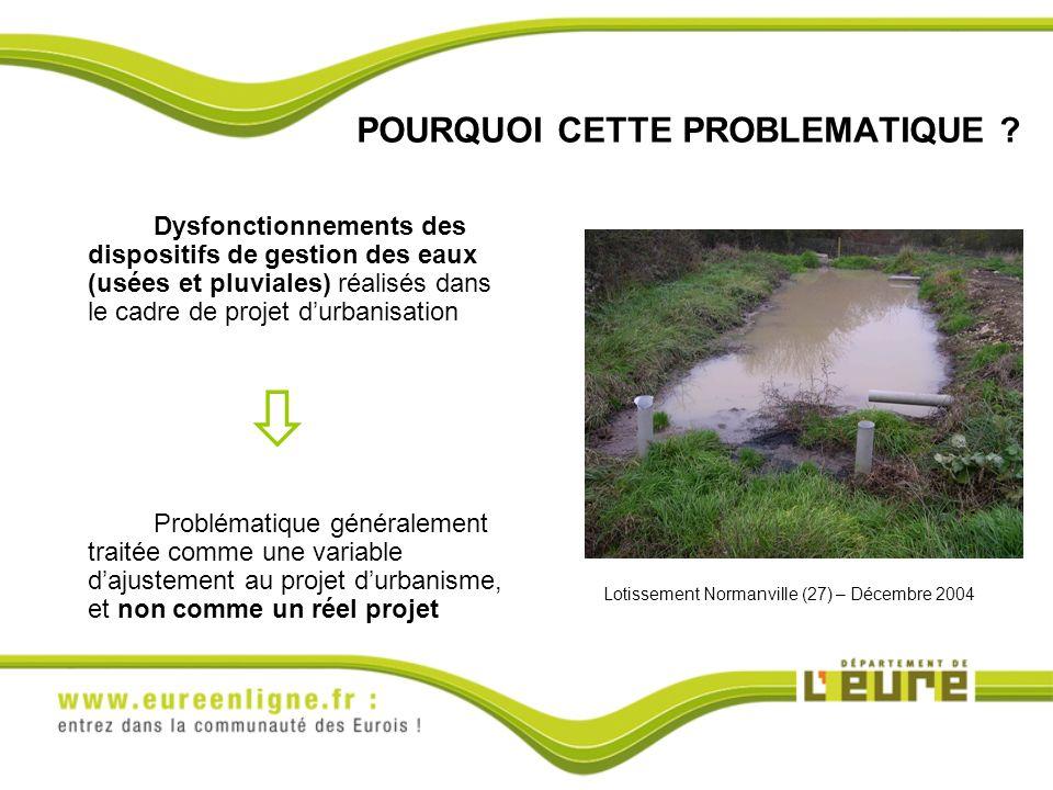 POURQUOI CETTE PROBLEMATIQUE ? Dysfonctionnements des dispositifs de gestion des eaux (usées et pluviales) réalisés dans le cadre de projet durbanisat