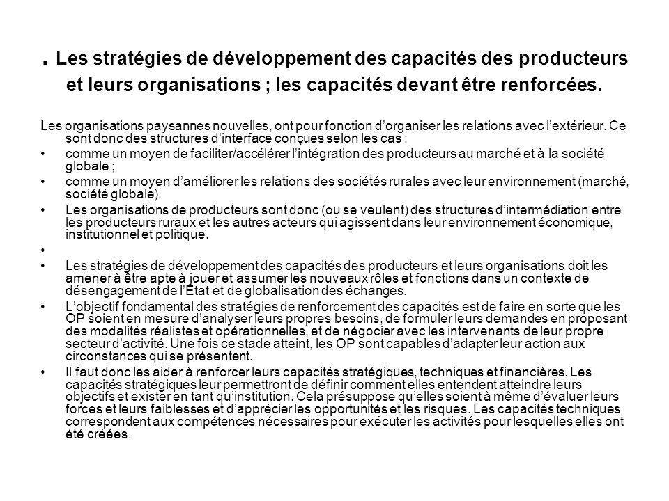 2. Les stratégies de développement des capacités des producteurs et leurs organisations ; les capacités devant être renforcées.. 2.1Capacités stratégi