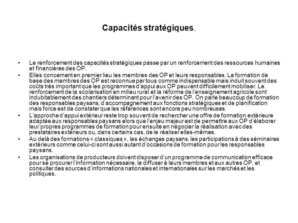 . Les stratégies de développement des capacités des producteurs et leurs organisations ; les capacités devant être renforcées. Les organisations paysa