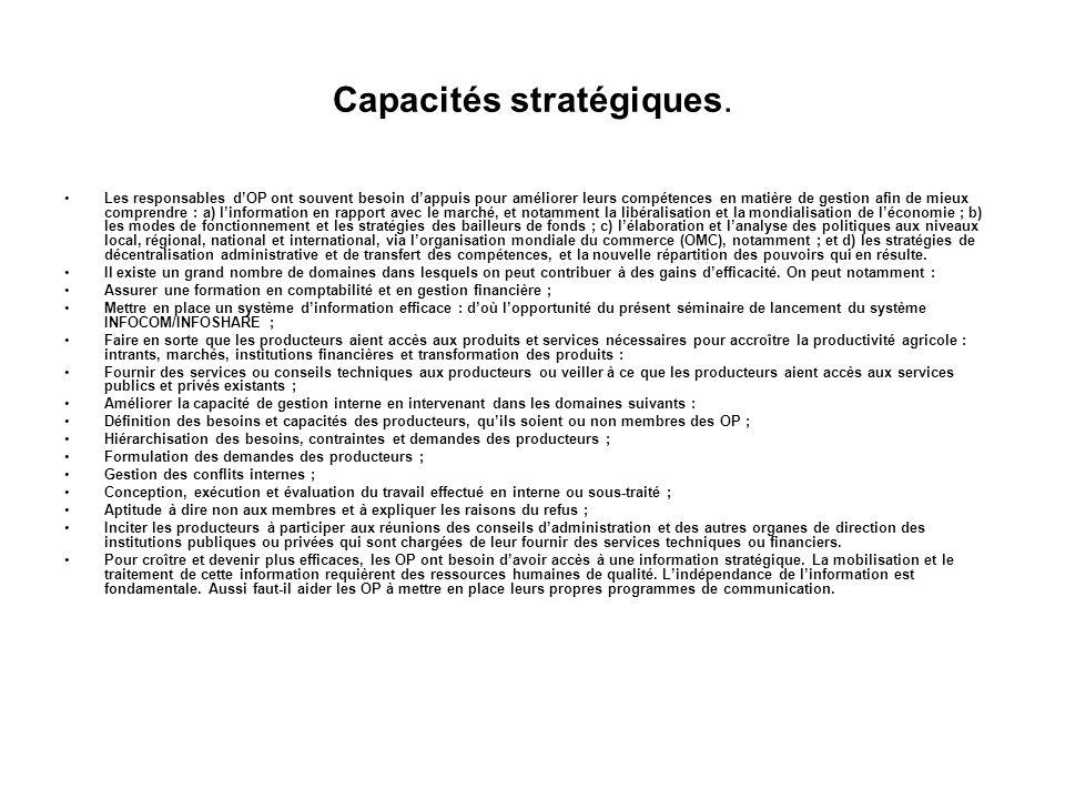 Capacités stratégiques. Le renforcement des capacités stratégiques passe par un renforcement des ressources humaines et financières des OP. Elles conc