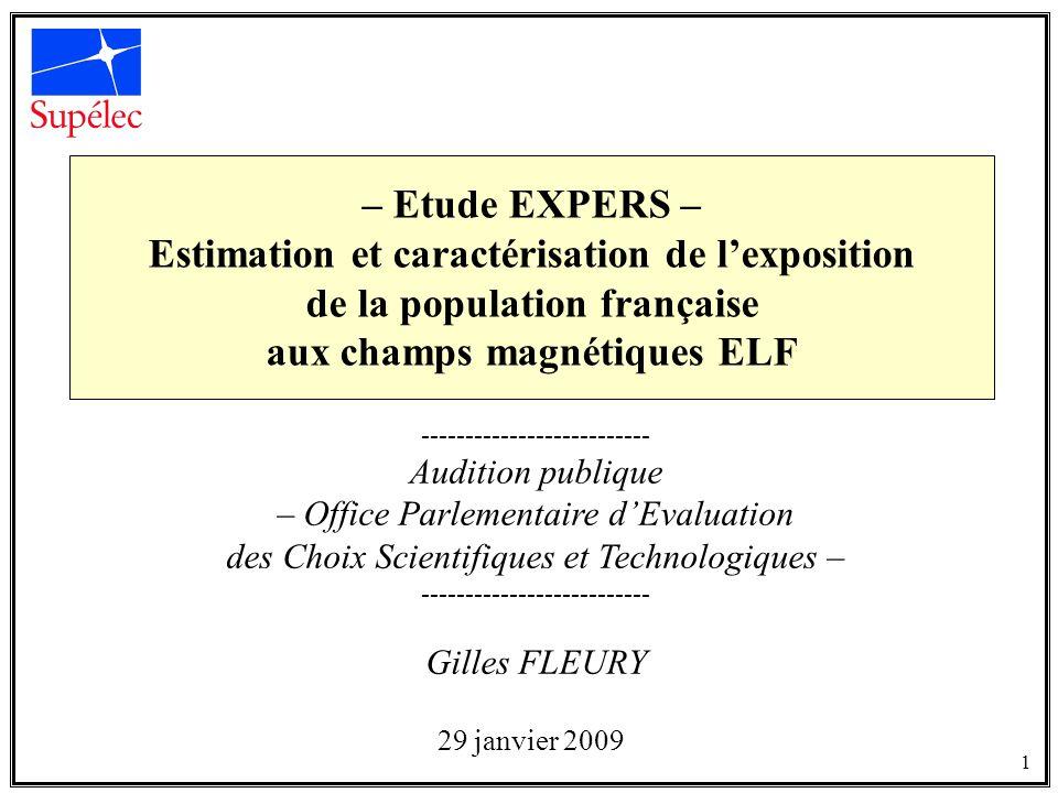 – Etude EXPERS – Estimation et caractérisation de lexposition de la population française aux champs magnétiques ELF -------------------------- Auditio