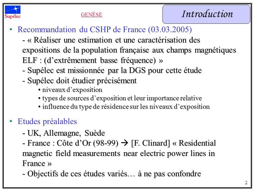 Recommandation du CSHP de France (03.03.2005) - « Réaliser une estimation et une caractérisation des expositions de la population française aux champs