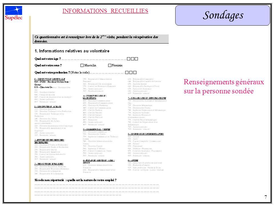 Sondages INFORMATIONS RECUEILLIES Renseignements généraux sur la personne sondée 7