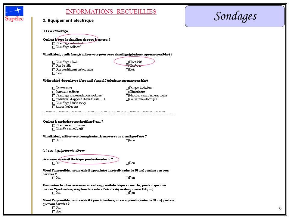 Sondages INFORMATIONS RECUEILLIES 10