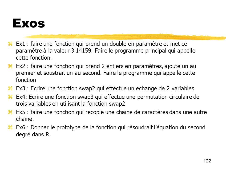 122 Exos Ex1 : faire une fonction qui prend un double en paramètre et met ce paramètre à la valeur 3.14159. Faire le programme principal qui appelle c