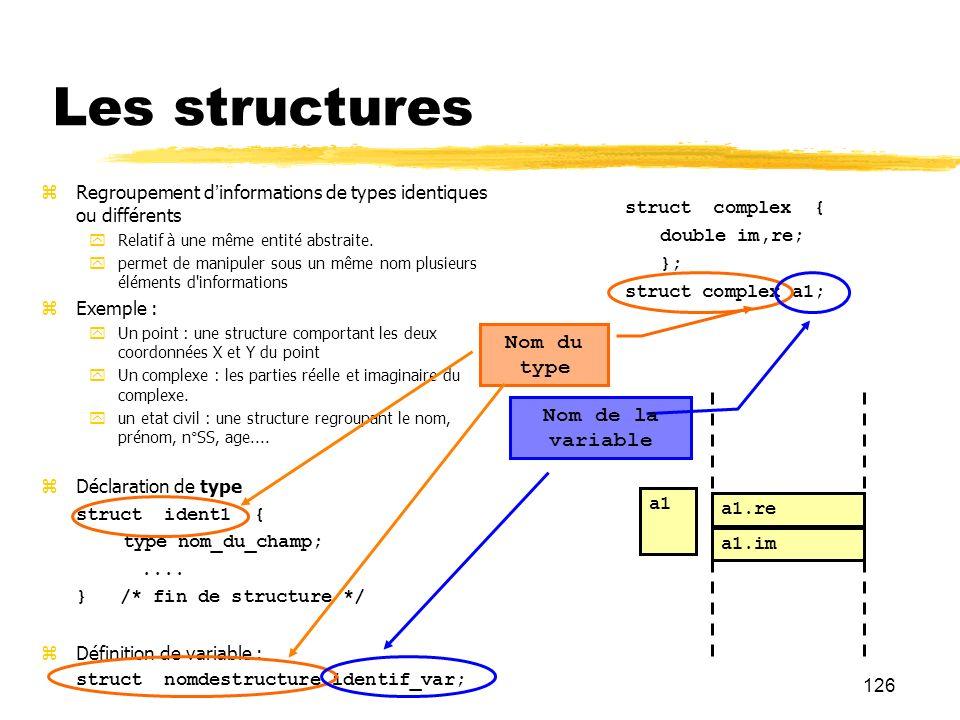 126 Les structures Regroupement dinformations de types identiques ou différents Relatif à une même entité abstraite. permet de manipuler sous un même