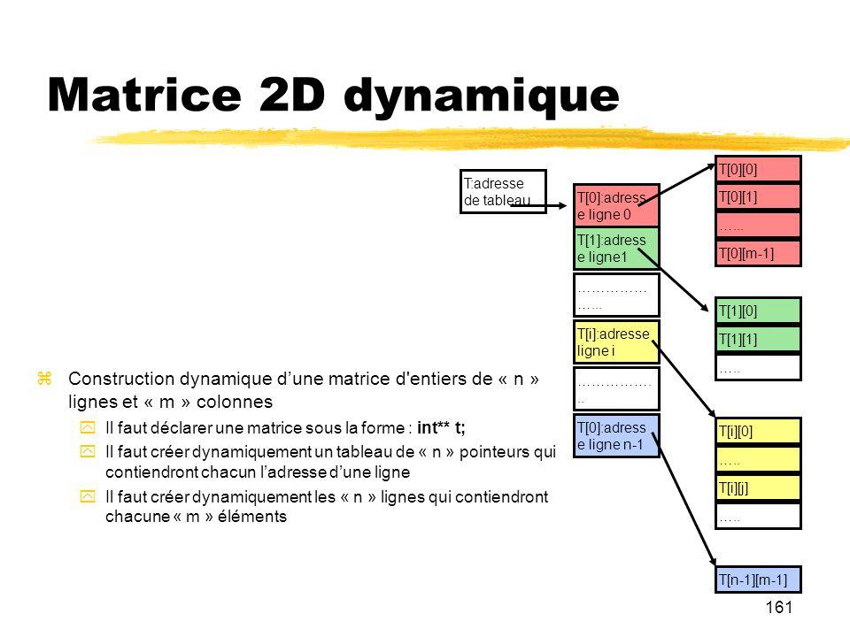 161 Matrice 2D dynamique Construction dynamique dune matrice d'entiers de « n » lignes et « m » colonnes Il faut déclarer une matrice sous la forme :