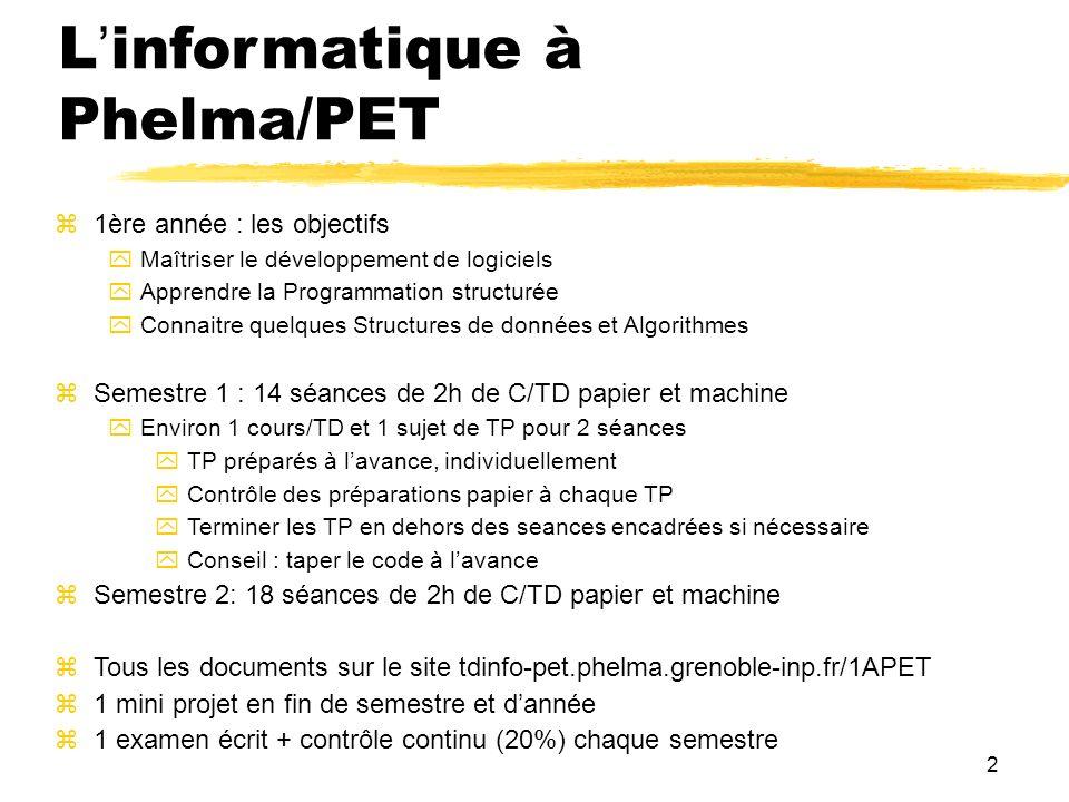 2 Linformatique à Phelma/PET 1ère année : les objectifs Maîtriser le développement de logiciels Apprendre la Programmation structurée Connaitre quelqu