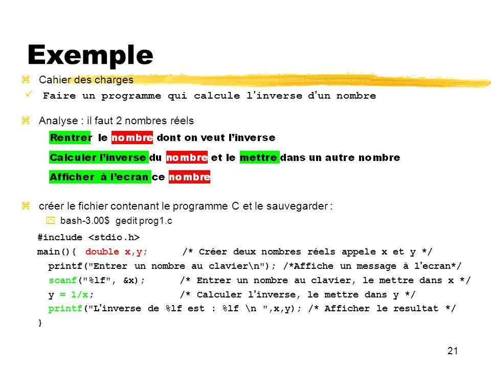21 Exemple Faire un programme qui calcule linverse dun nombre Cahier des charges Analyse : il faut 2 nombres réels créer le fichier contenant le progr