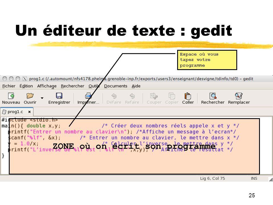 25 Un éditeur de texte : gedit ZONE où on écrit son programme Espace où vous tapez votre programme