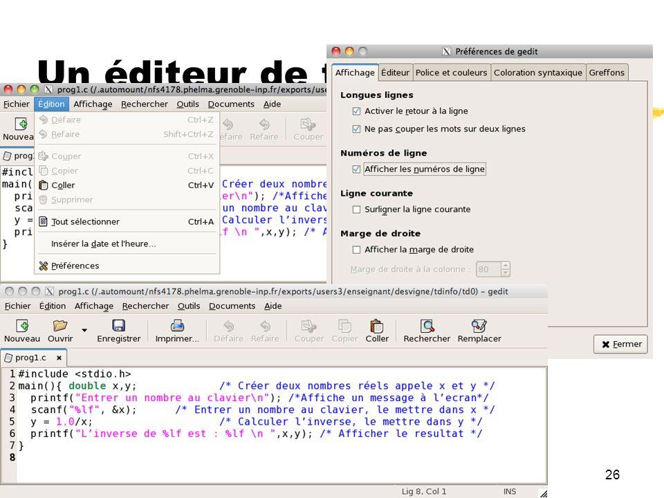26 Un éditeur de texte : gedit
