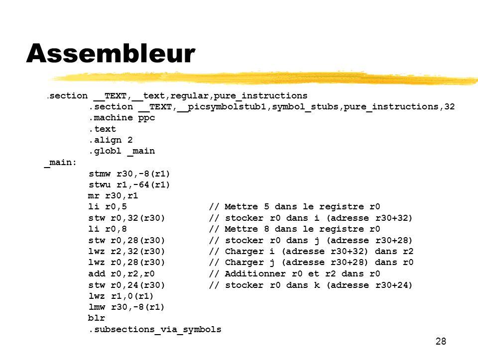 28 Assembleur. section __TEXT,__text,regular,pure_instructions.section __TEXT,__picsymbolstub1,symbol_stubs,pure_instructions,32.machine ppc.text.alig