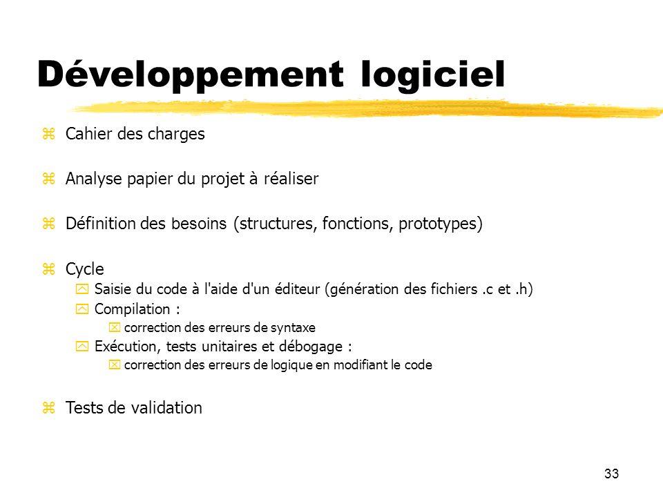 33 Développement logiciel Cahier des charges Analyse papier du projet à réaliser Définition des besoins (structures, fonctions, prototypes) Cycle Sais