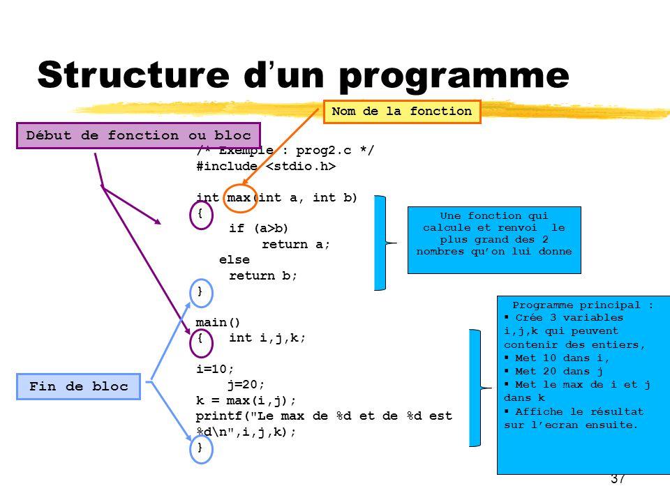 37 Structure dun programme /* Exemple : prog2.c */ #include int max(int a, int b) { if (a>b) return a; else return b; } main() {int i,j,k; i=10; j=20;