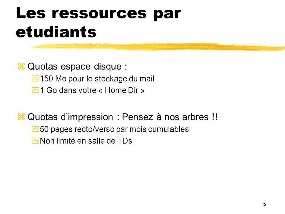 5 Les ressources par etudiants Quotas espace disque : 150 Mo pour le stockage du mail 1 Go dans votre « Home Dir » Quotas dimpression : Pensez à nos a