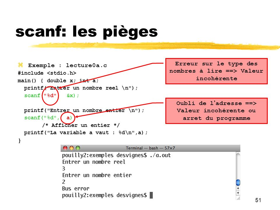 51 Exemple : lecture0a.c #include main() { double x; int a; printf(