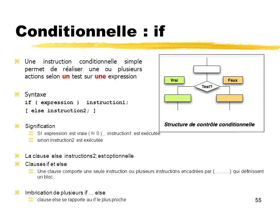 55 Conditionnelle : if Une instruction conditionnelle simple permet de réaliser une ou plusieurs actions selon un test sur une expression Syntaxe if (