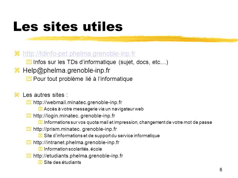 6 Les sites utiles http://tdinfo-pet.phelma.grenoble-inp.fr Infos sur les TDs dinformatique (sujet, docs, etc…) Help@phelma.grenoble-inp.fr Pour tout