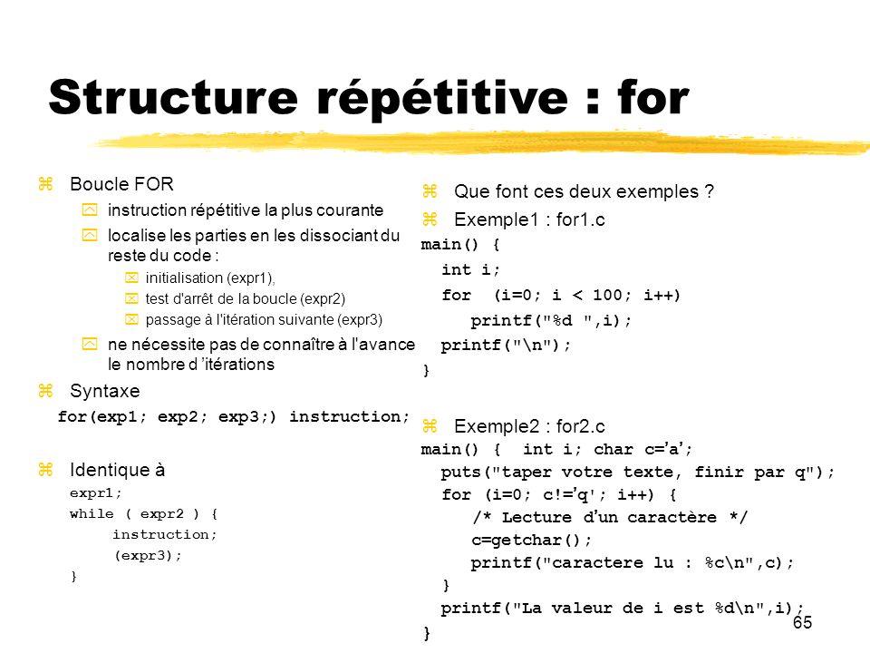 65 Structure répétitive : for Boucle FOR instruction répétitive la plus courante localise les parties en les dissociant du reste du code : initialisat