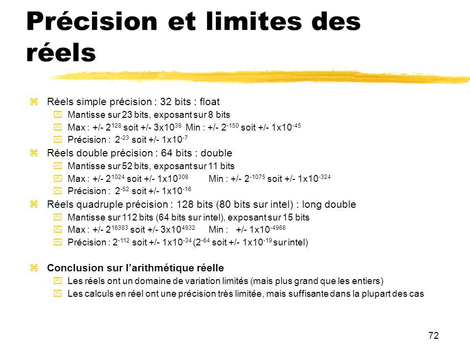 72 Précision et limites des réels Réels simple précision : 32 bits : float Mantisse sur 23 bits, exposant sur 8 bits Max : +/- 2 128 soit +/- 3x10 38