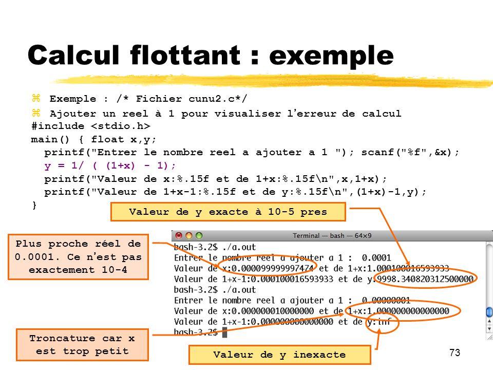73 Exemple : /* Fichier cunu2.c*/ Ajouter un reel à 1 pour visualiser lerreur de calcul #include main() { float x,y; printf(