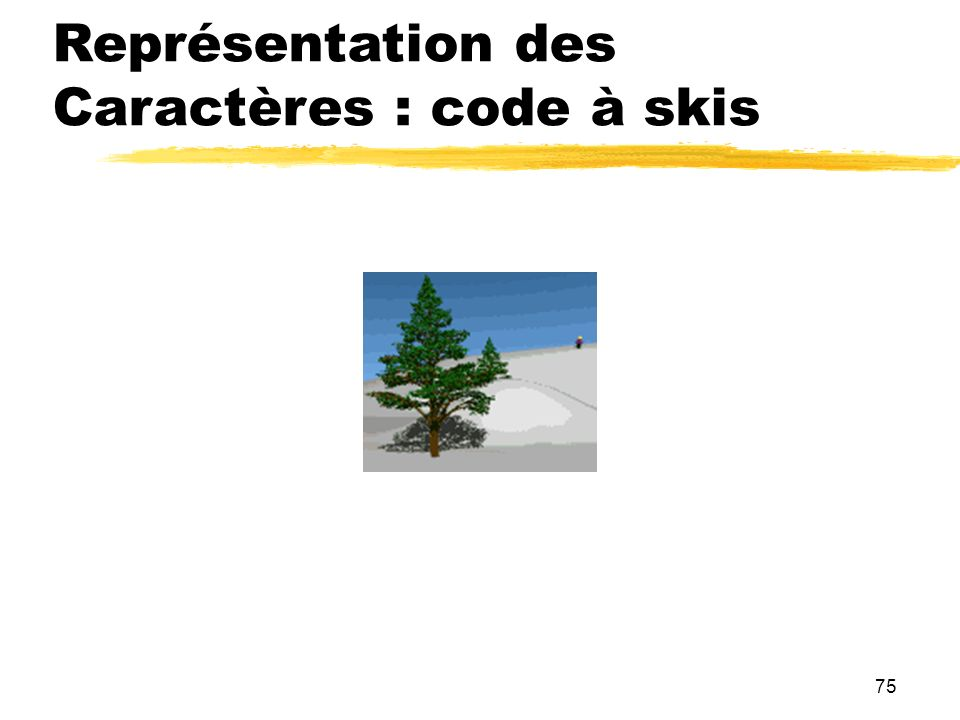 75 Représentation des Caractères : code à skis
