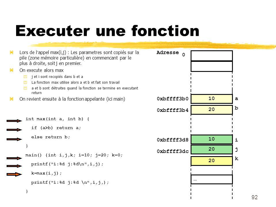 0 92 Executer une fonction 20 10 0 Adresse i … j 20 10 0xbffff3b0 a b 0xbffff3b4 0xbffff3d8 0xbffff3dc 20 Lors de lappel max(i,j) : Les parametres son