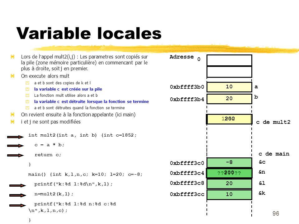 96 Variable locales 10 20 0 Adresse &l &k 20 10 0xbffff3b0 a b 0xbffff3b4 0xbffff3c8 0xbffff3cc Lors de lappel mult2(i,j) : Les parametres sont copiés